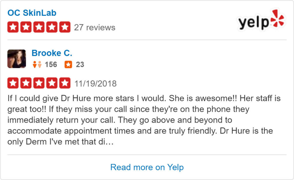 5-star Yelp review of OC SkinLab
