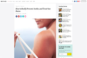 Screenshot of 'How to Really Prevent, Soothe, and Treat Sun Burns' article